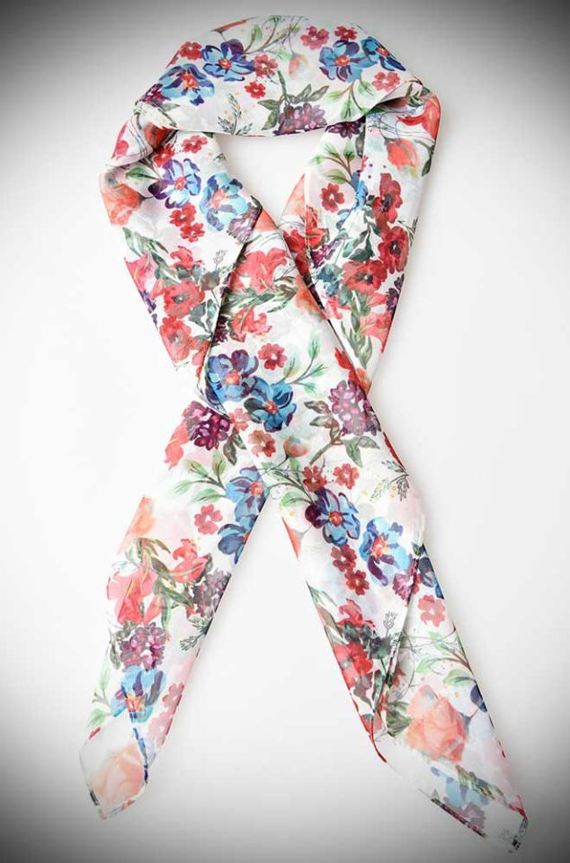 Instant pinup style with this white and ditsy wildflower floral printed hair scarf! A silky vintage inspired chiffon scarf perfect for tying up and around your divine 'do. Any excuse for a little sky-high hair help!