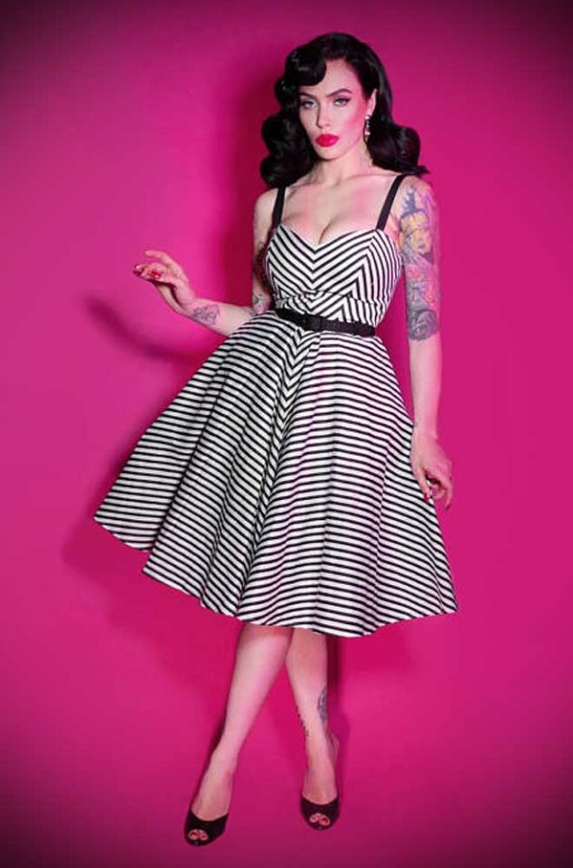 The Vixen Dollface Dress in black and white could be the ultimate swing dress! Deadly is the Female are official UK stockists of Vixen by Micheline Pitt.