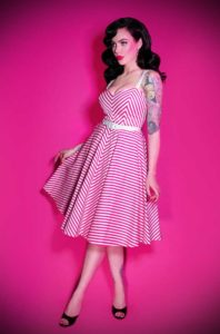 The Pink Dollface Dress could well be the ultimate swing dress! Deadly is the Female are official UK stockists of Vixen by Micheline Pitt