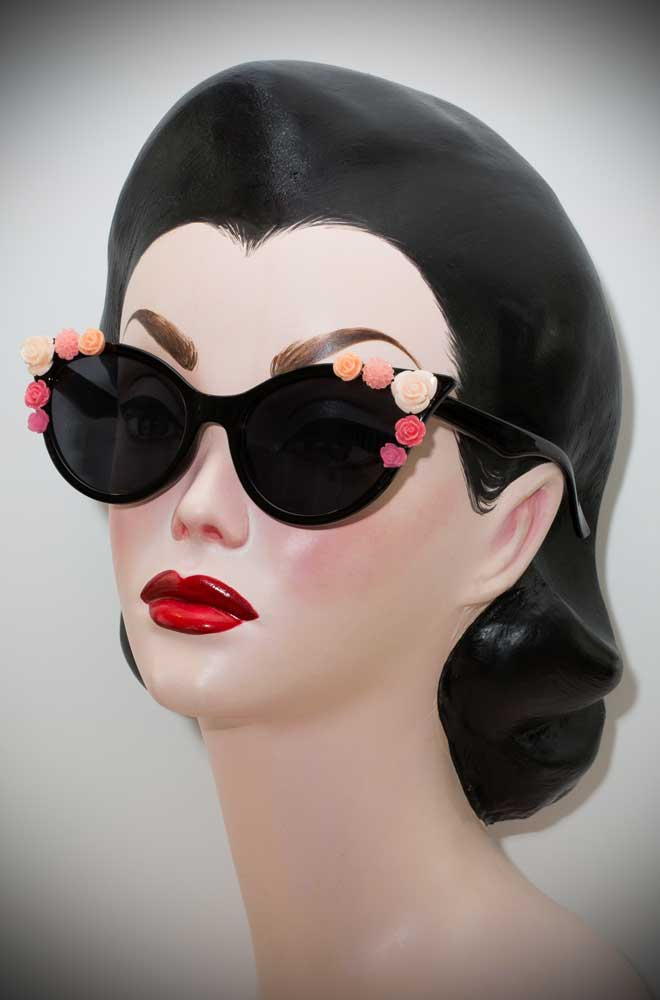 Vintage style Black Floral Cat Eye Sunglasses at Deadly is the Female. The perfect way to add some vintage glamour and festival style to your pinup look.