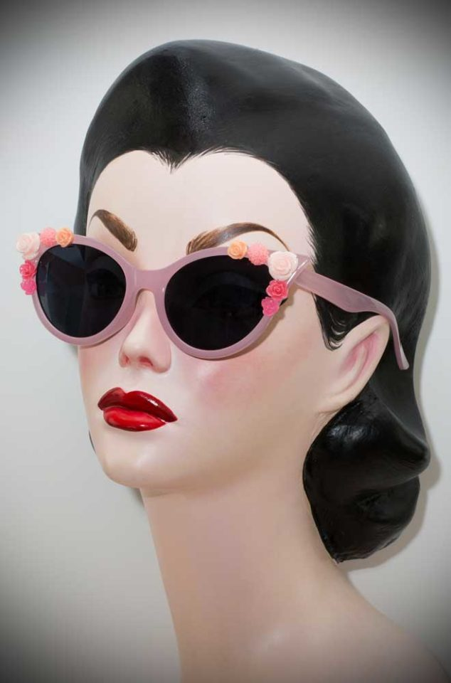 Vintage style Rose Floral Cat Eye Sunglasses at Deadly is the Female. The perfect way to add some vintage glamour to your pinup look.