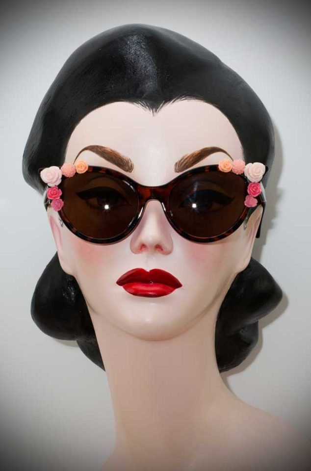 Vintage style Tortoiseshell Floral Cat Eye Sunglasses at Deadly is the Female. The perfect way to add some vintage glamour to your pinup look.