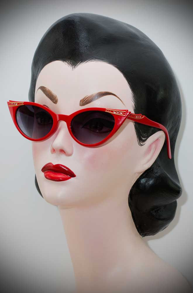 Red Delores vintage style sunglasses at Deadly is the Female.50's style cats eye sunglasses for pin ups and rockabillies.