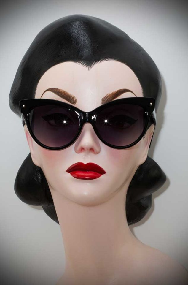 Vintage style Black Great Cat Sunglasses at Deadly is the Female. The perfect way to add some vintage glamour to your pinup look.