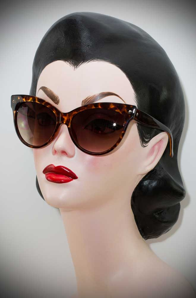 Vintage style Tortoiseshell Great Cat Sunglasses at Deadly is the Female. The perfect way to add some vintage glamour to your pinup look.