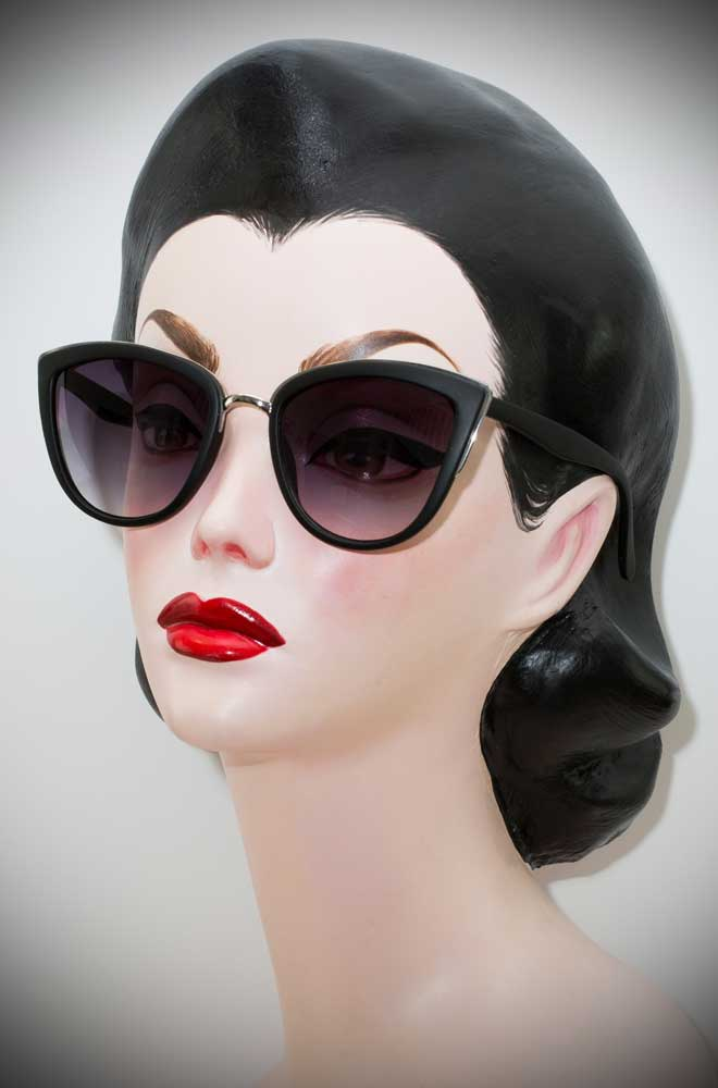 Vintage style Black Matte Jackie Kennedy sunglasses at Deadly is the Female. Effortlessly add some pinup glamour to your day!