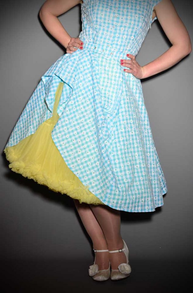 Vintage Style Yellow Chiffon Petticoat, also sometimes called a crinoline. These are soft and comfortable under your favourite swing dress or circle skirt.