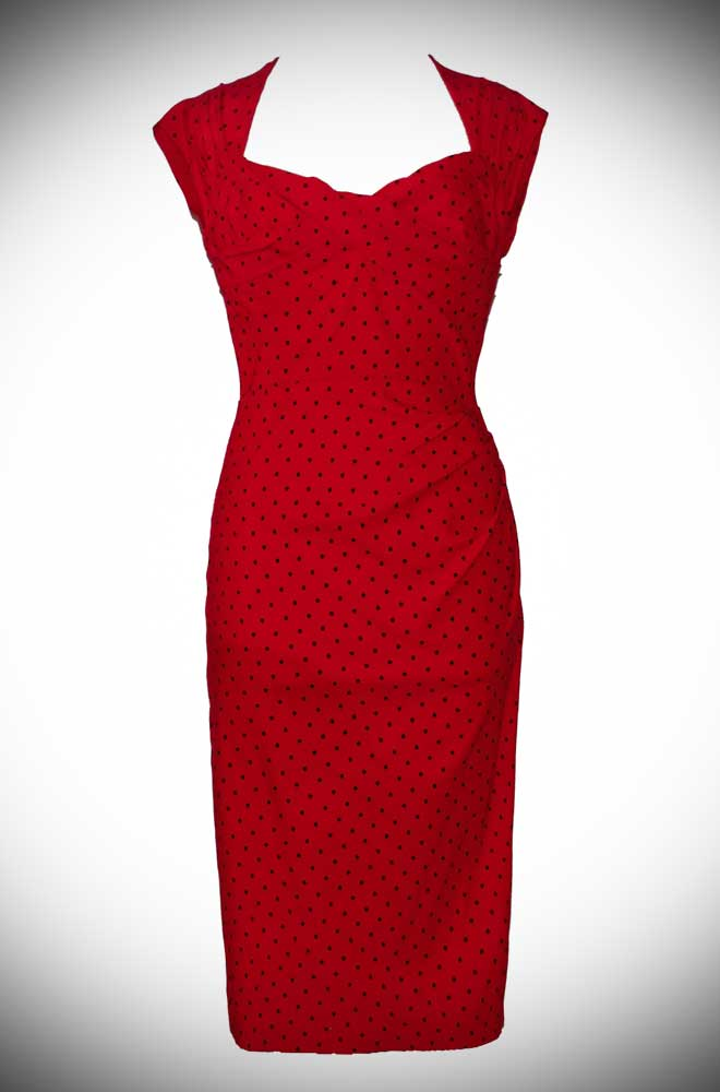 Red and Black Dotty Love Dress at Stop Staring UK stockist Deadly is the Female. A classic wiggle dress that is as timeless as it is striking.