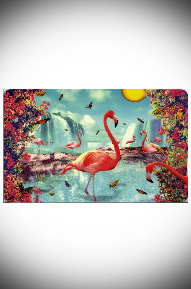 This fun flamingo breakfast board makes a great, kitsch gift! Wipe clean Melamine finish. Designed by Max Hernn, now available at Deadly is the Female.