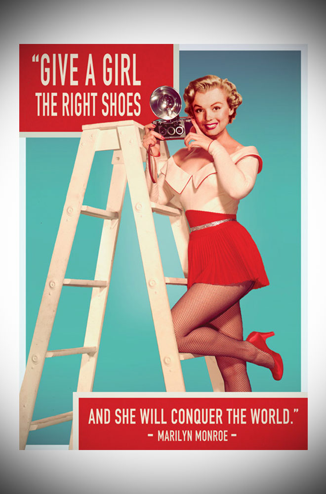 "This bright greetings card features the Marilyn Monroe quote ""Give a girl the right shoes and she can conquer the world""."