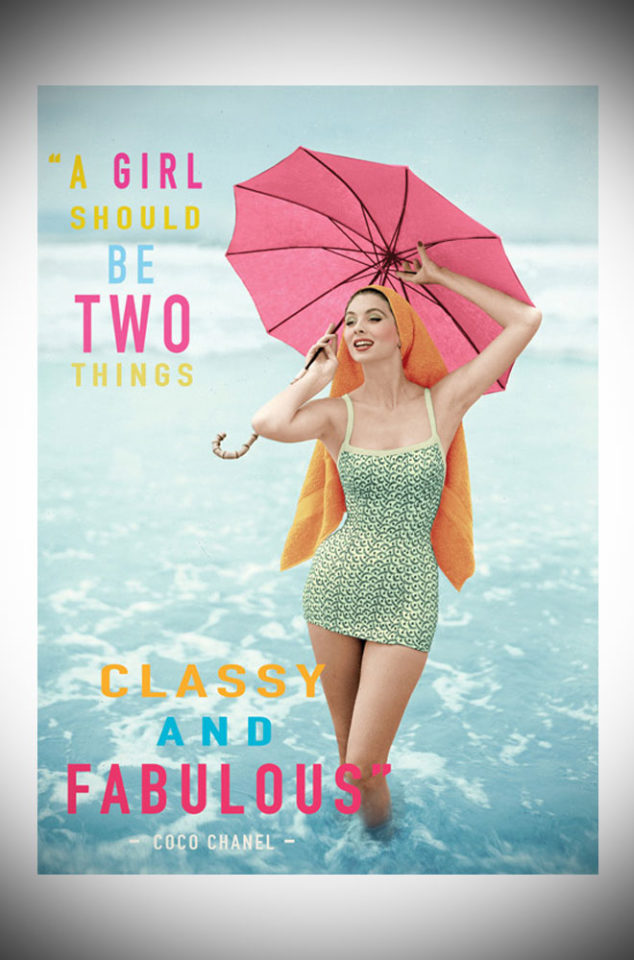 """This sassy greetings card features the famous Coco Chanel quote, """"A girl should be two things, classy and fabulous"""". Available at Deadly is the Female."""