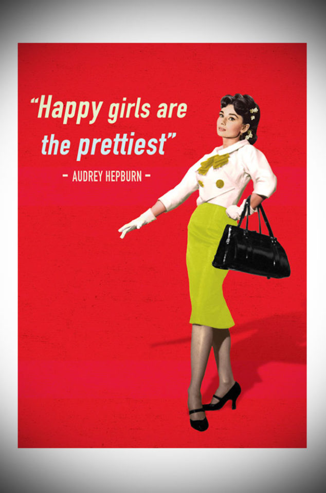 "This sweet greetings card features the famous Audrey Hepburn quote, ""Happy Girls are the prettiest"". Available now at Deadly is the Female."