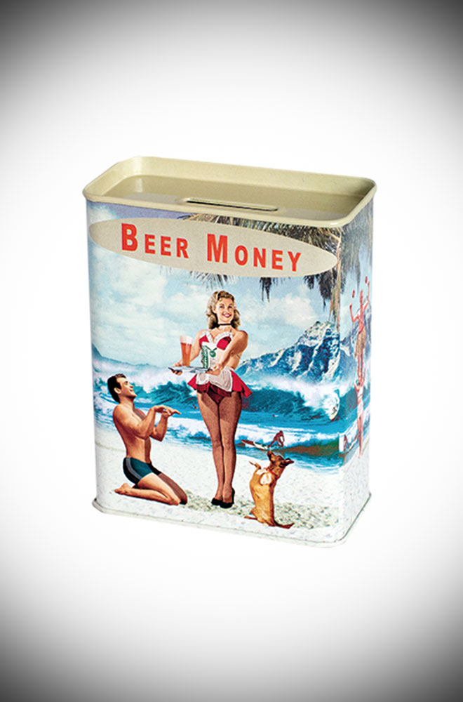 Pop your pennies (or some notes!) inside this cute beer money box. Made from tin, this money box features a cheeky scene in a tropical location!