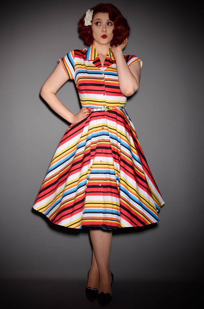 The Del Rey Shirt dress is bright, beautiful & oh so retro in fresh & bold multicoloured stripes. Unique Vintage at Deadly is the Female.