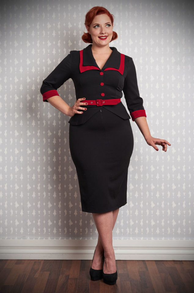 The Valentina-Rose Wiggle Dress is a chic pencil dress inspired by Agent Carter by Miss Candyfloss at UK stockists, Deadly is the Female.