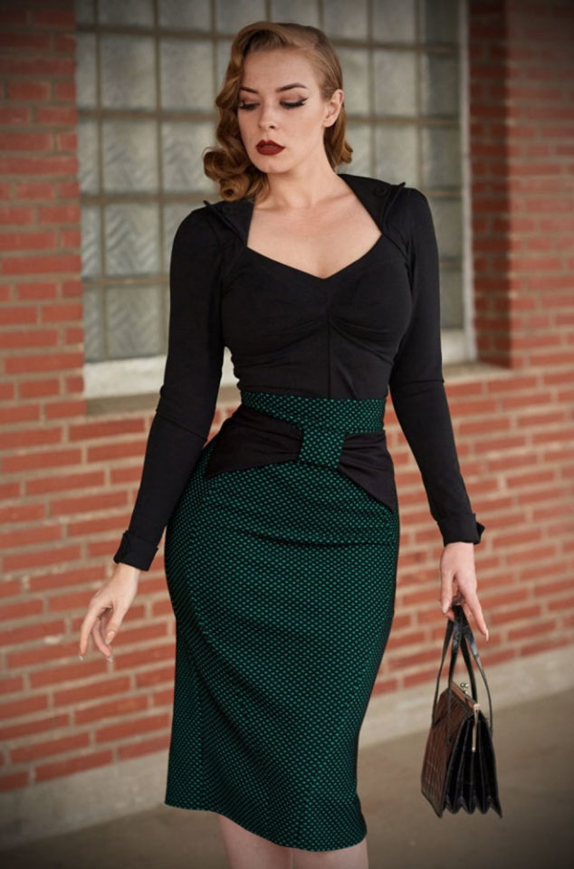 The black & green polka dot Victoria Pencil Skirt is a dream, perfect for pinups & femme fatales. Deadly is the Female are UK stockists of Miss Candyfloss.