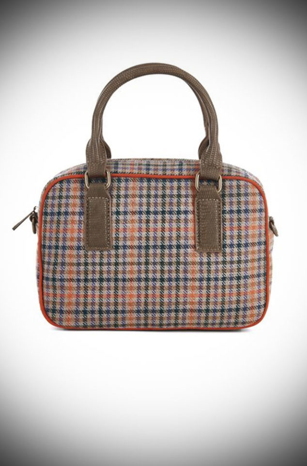 The Austin Bag is a tweed bag by Ruby Shoo. It is a timeless bag which blends classic tweed & a retro bowling bag shape. Available at DeadlyistheFemale.com