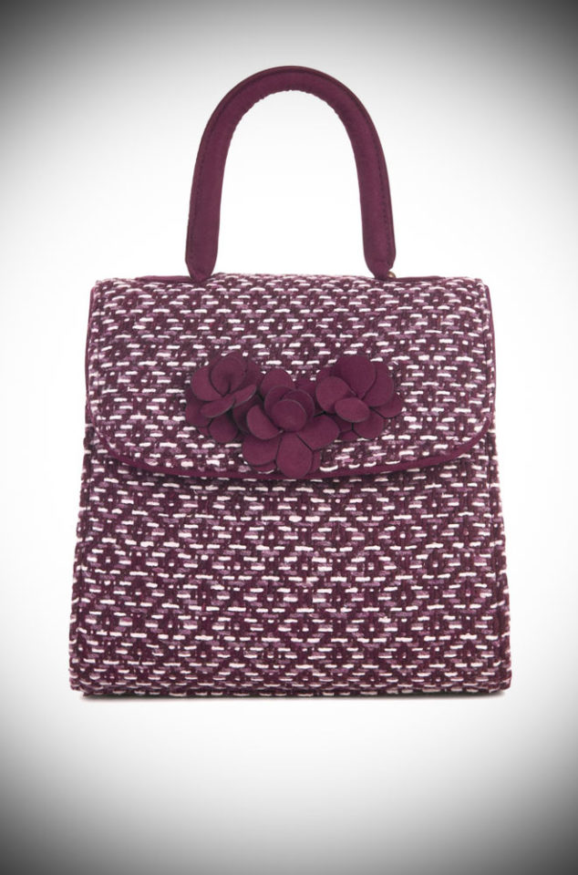 The Bari Bag is a burgundy tweed bag by Ruby Shoo. It is a timeless bag which is a classic for day or night. Available now at DeadlyistheFemale.com