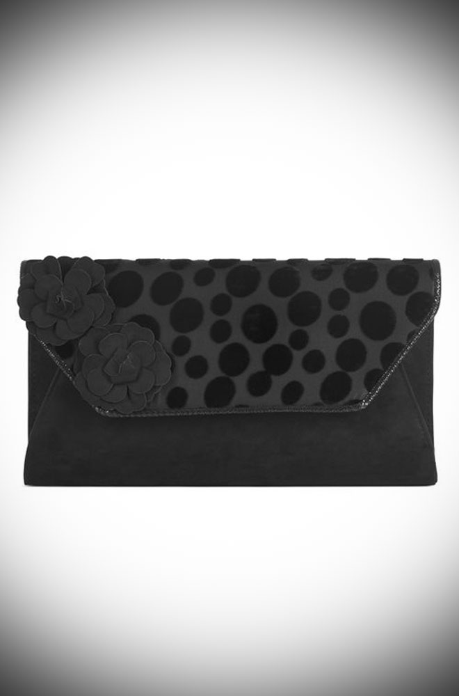 The Capri Bag is a chic black envelope bag by Ruby Shoo. It is a good size evening bag with plenty of room far all your essentials.