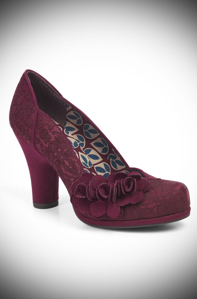The Charlotte shoes are beautiful burgundy brocade, medium height heels. Perfect to take you from day to night in vintage inspired style!