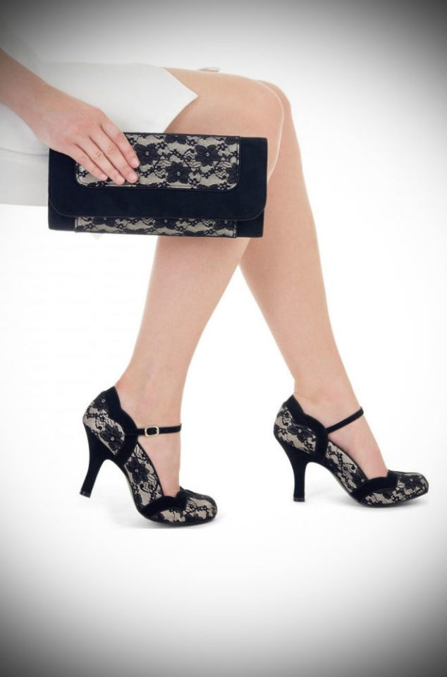 The Black Lace Imogen shoes are striking medium height heels. Perfect to take you from day to night in vintage inspired style!