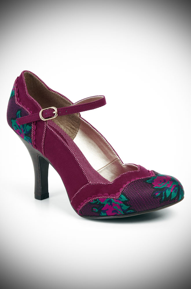 The Imogen shoes are striking medium height heels in a delicious shade of plum. Perfect to take you from day to night in vintage inspired style!