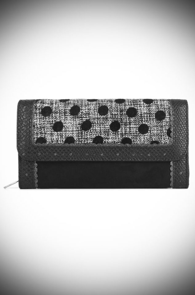 The Ontario Purse is a tweed and faux suede vintage inspired purse. This dotty wallet is sure to make you smile! Available now at DeadlyistheFemale.com