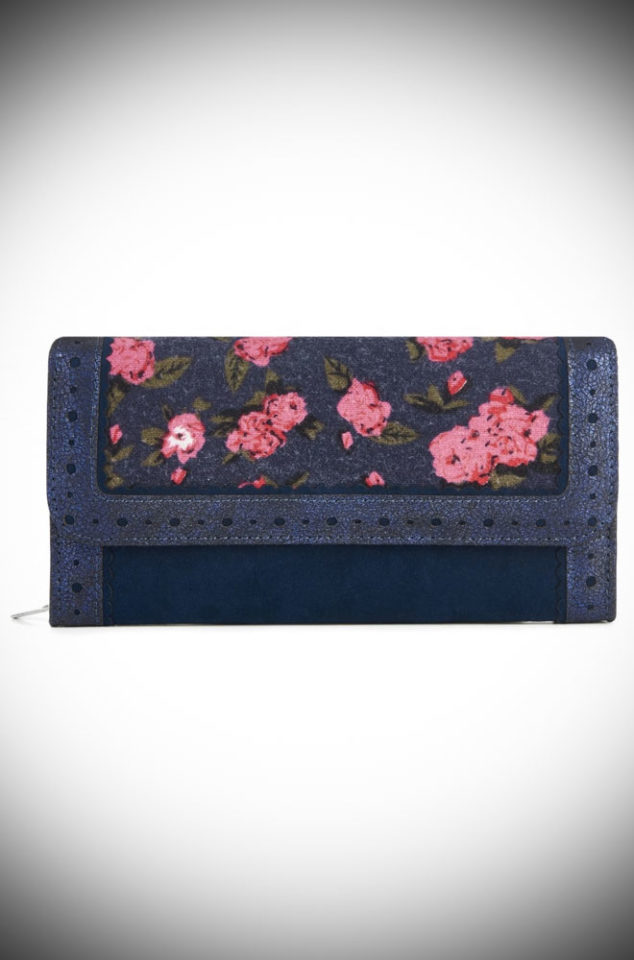 The Floral Ontario Purse is a tweed and faux suede vintage inspired purse. This dotty wallet is sure to make you smile! Available at DeadlyistheFemale.com