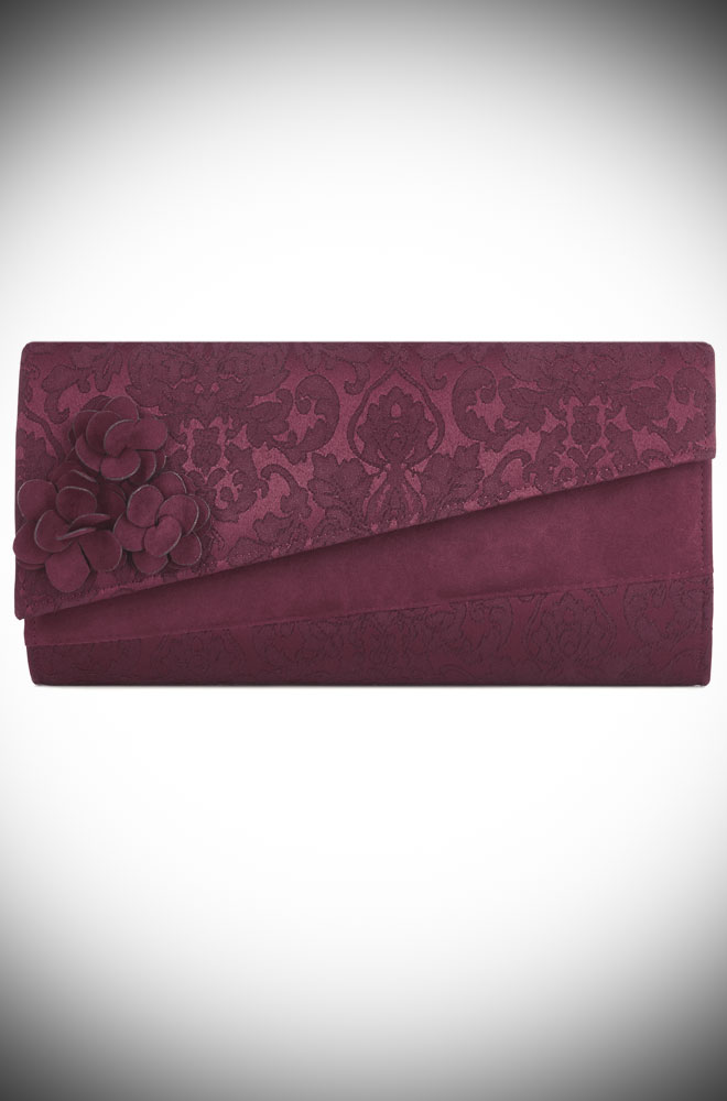 The Oxford Bag is a chic burgundy evening bag. It is understated & timeless with its tone on tone brocade details. Available at Deadly is the Female