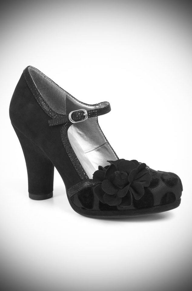 The Hannah shoes are striking black devore, medium height heels. Perfect to take you from day to night in vintage inspired style!