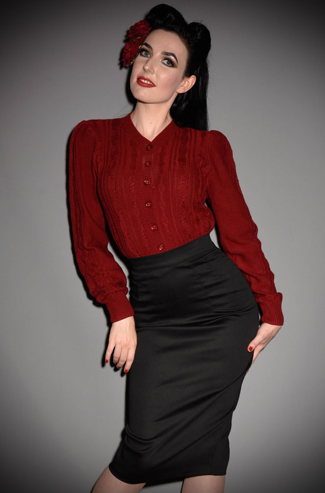 This stunning 40's Ice Skater Cardigan by Emmy Design is a beautiful wardrobe essential. The rich wine colour is warm and flattering to all skin tones.