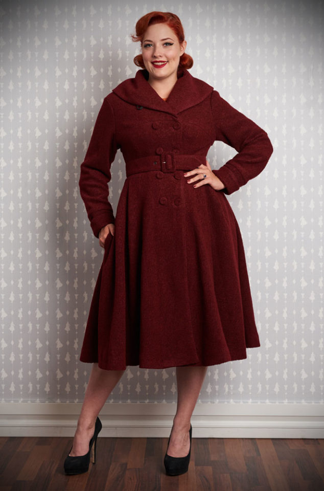 The Thilde-Bo Swing Coat is a stunning deep red 1950's trench coat transformed into a winter coat with quilted lining by Miss Candyfloss