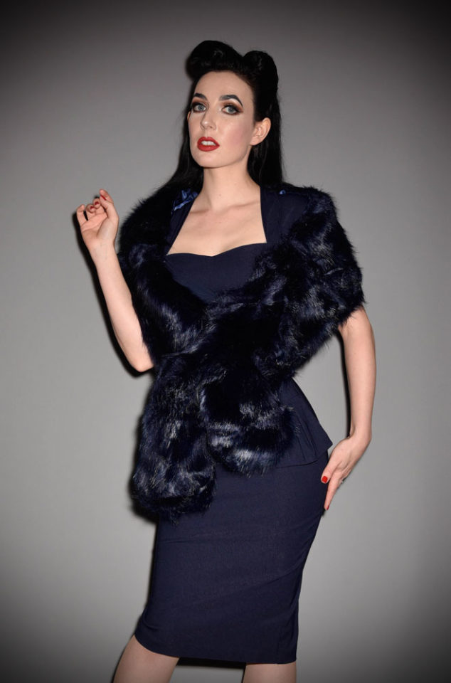 For instant vintage style, simply add some (faux) fur! The Navy Faux Fur Stole is luxurious and timeless. Available now at Deadly is the Female.