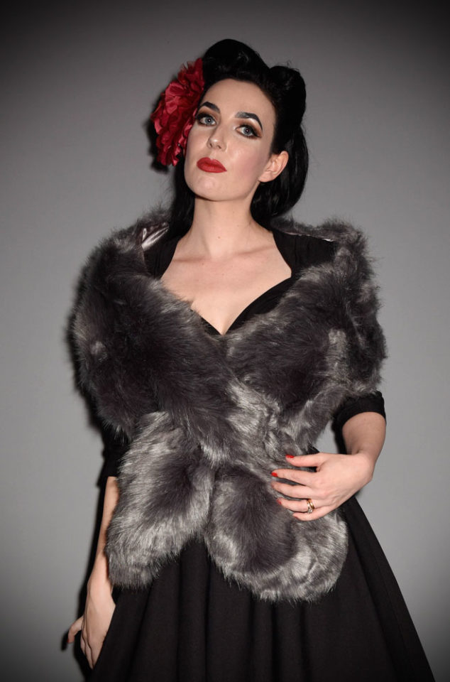 For instant vintage style, simply add some (faux) fur! The Grey Faux Fur Stole is luxurious and timeless.Available now at Deadly is the Female.