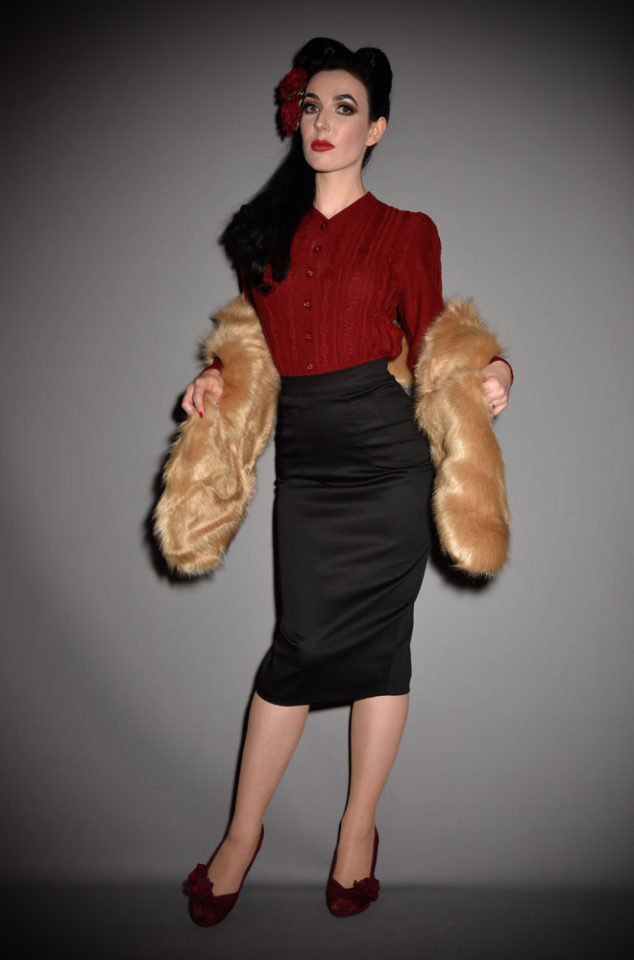 For instant vintage style, simply add some (faux) fur! The Fox Faux Fur Stole is luxurious and timeless. Available now at Deadly is the Female.