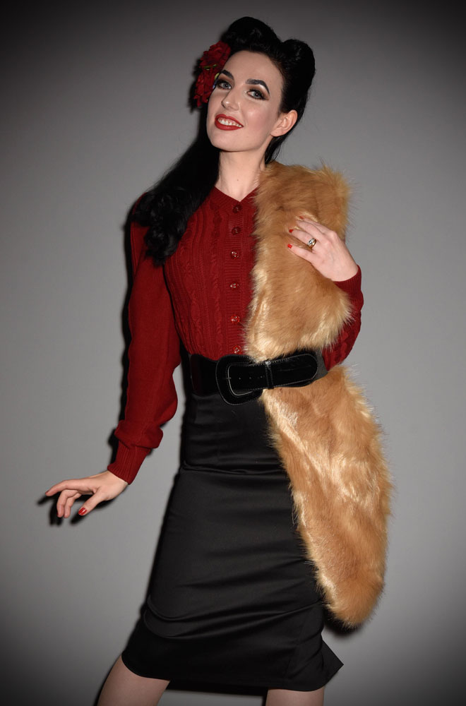 For instant vintage style, simply add some (faux) fur! The Fox Faux Fur Stole is luxurious and timeless.Available now at Deadly is the Female.