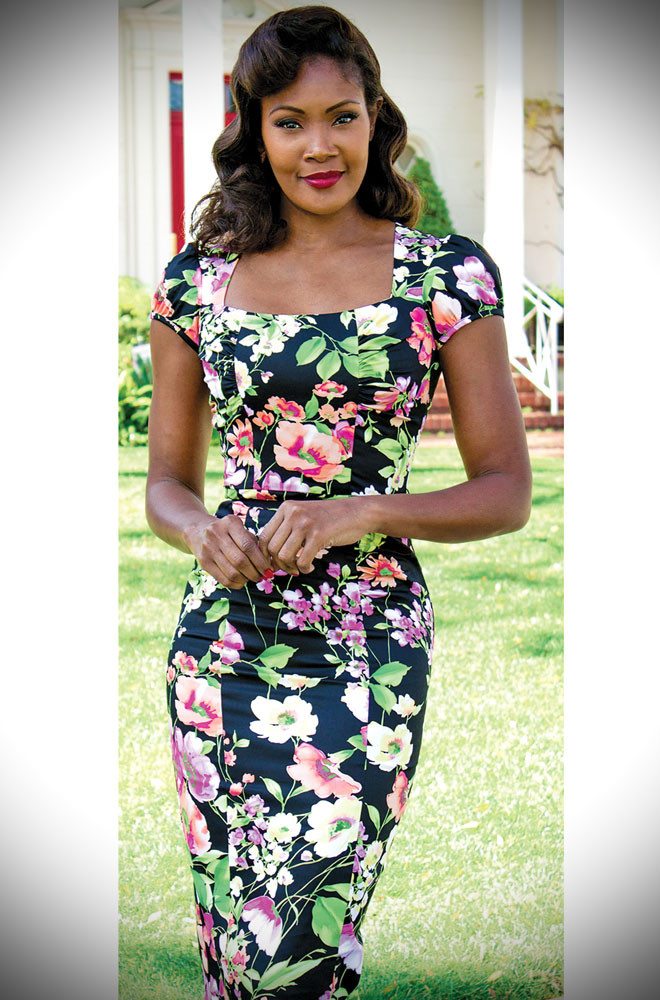 The Stop Staring! Isla Dress timeless glamour at its best. An elegant winter floral wiggle dress. DeadlyistheFemale.com are UK stockists of Stop Staring!