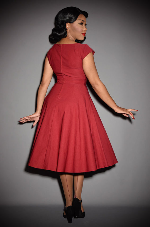50's Mad Style Swing Dress at Stop Staring! official UK stockists Deadly is the Female. A pin up dress in garnet red. High quality vintage reproduction.