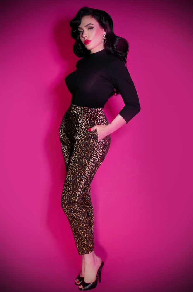 The Vixen Leopard print Cigarette Pants have arrived at Deadly is the Female, official UK stockists of Vixen by Micheline Pitt.Good things for bad girls.