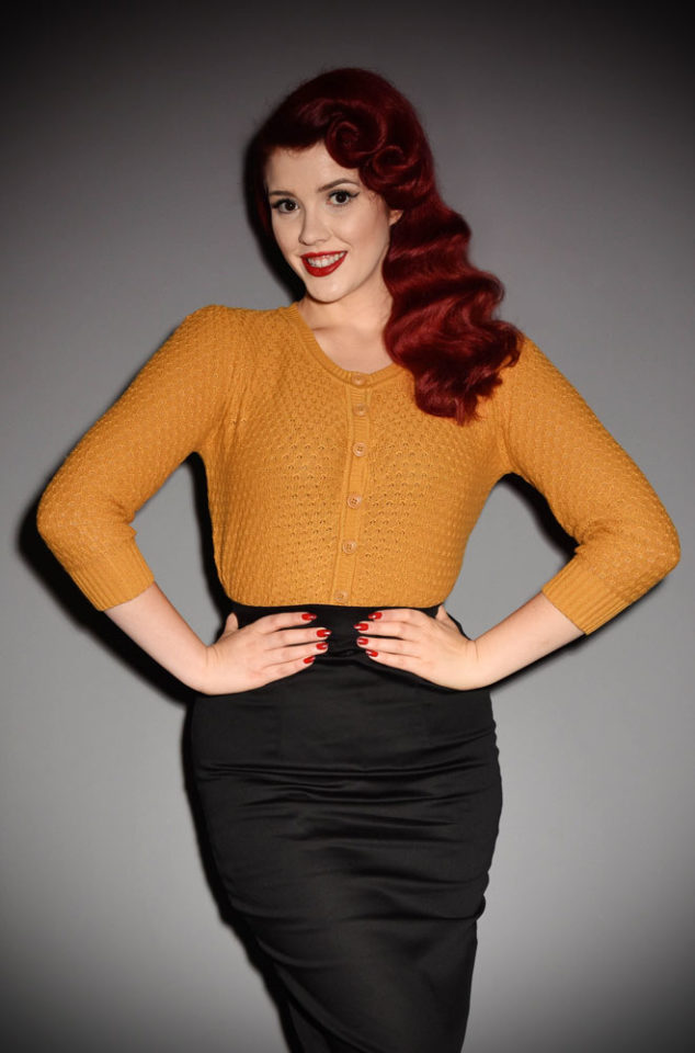The vintage inspired Mustard Lace Knit Cardigan is perfect for pairing with your favourite retro separates. A retro classic at Deadly is the Female