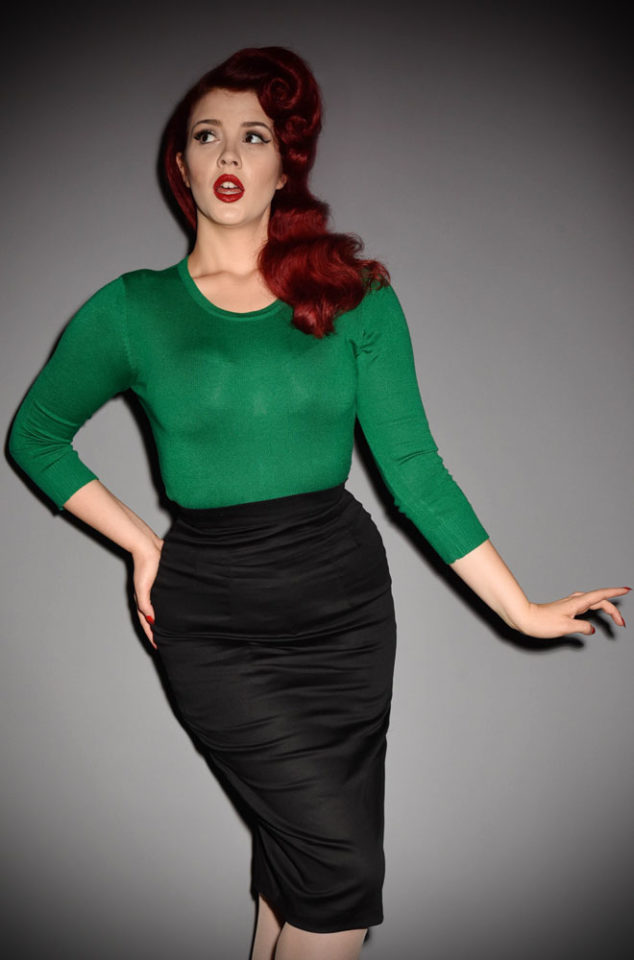 The 50's style Green Sweater Girl Sweater is perfect for pairing with your favourite retro separates. A vintage classic at Deadly is the Female