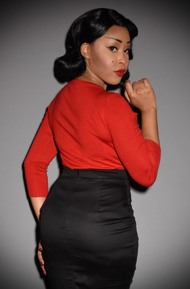 """The50's style Red """"Sweater Girl"""" Sweater is perfect for pairing with your favourite retro separates.A vintage classic at Deadly is the Female"""