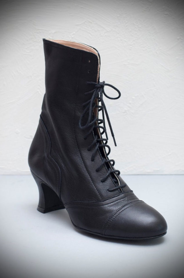 The Miss L Fire Black Frida Boots are beautiful vintage inspired heeled boots. Beautiful vintage inspired lace up ankle boots.