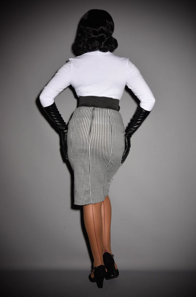 Sabrina is ablack and white houndstooth pencil skirt that is neat but sassy. Available in UK sizes 8/10 to 18/20 at DeadlyistheFemale.com