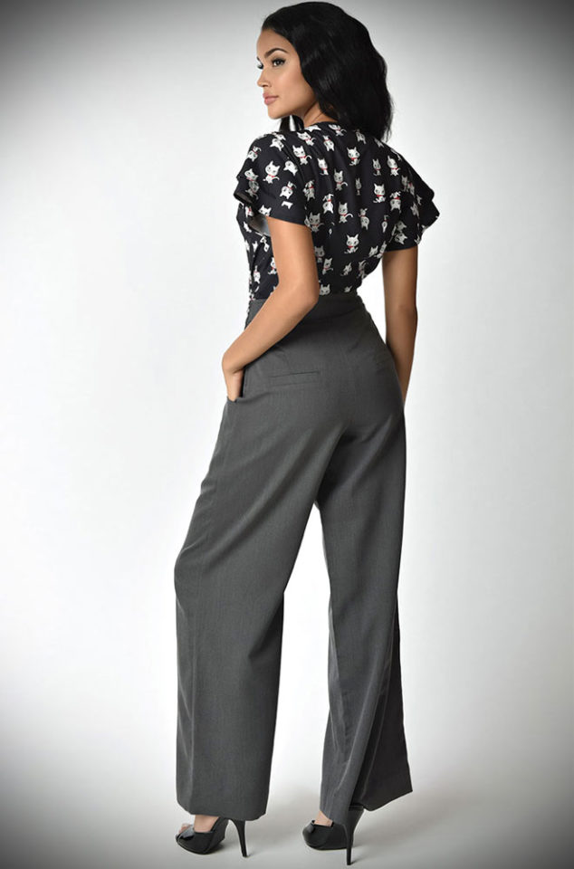 The Ginger Trousers are authentic High Waisted Wide Leg 40's style trousers. by Unique Vintage at official UK stockists, DeadlyistheFemale.com