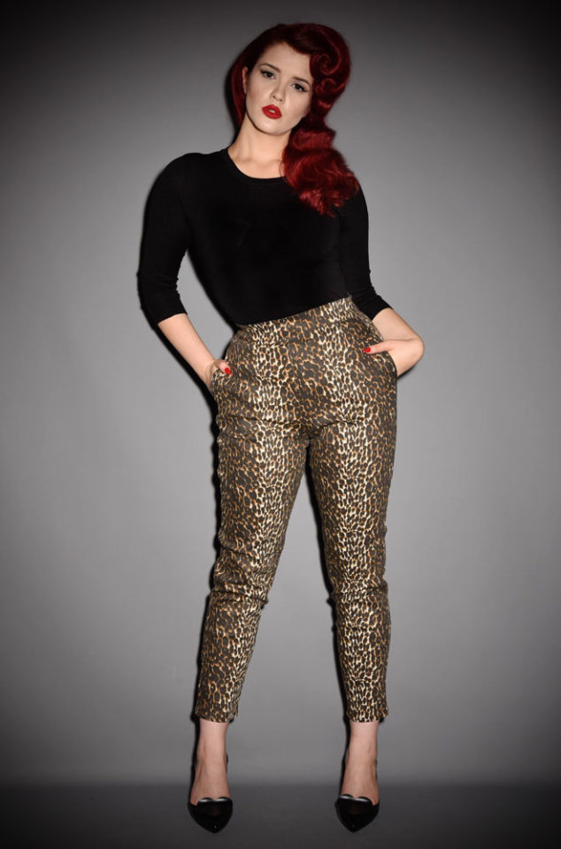 The Vixen Leopard print Cigarette Pants have arrived at Deadly is the Female, official UK stockists of Vixen by Micheline Pitt. Good things for bad girls.