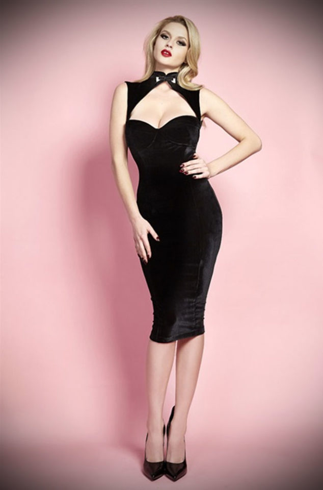 The Jane Russell dress is guaranteed to stop traffic! Channel the sass of the 50's screen siren in this daring little black dress.