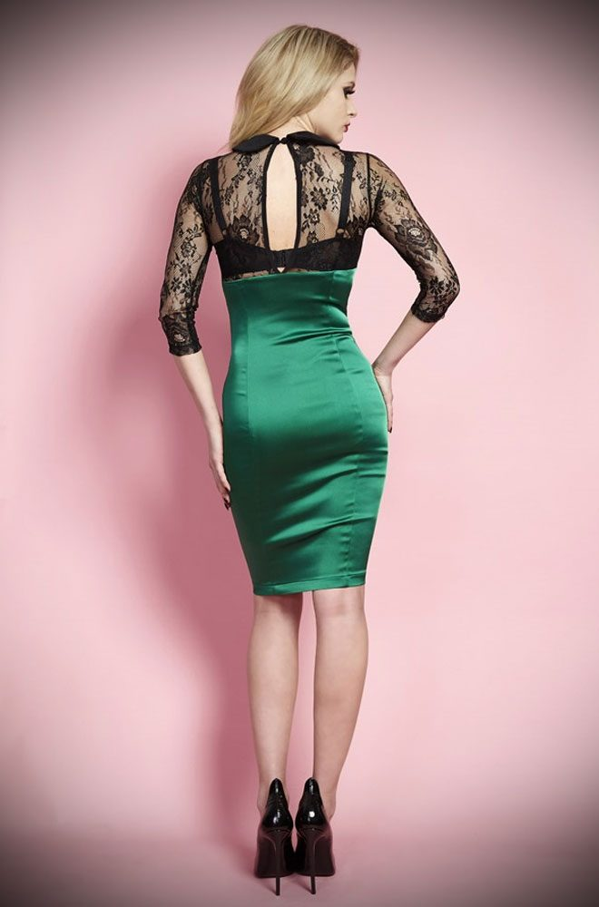 The Kim Novak dress is guaranteed to stop traffic! The emerald satin skirt is a stunning contrast to the sheer black lace bodice.