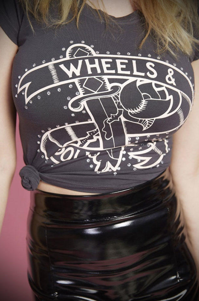 Introducingthe Wheels and Dollbaby Logo Tee. A french neck t shirt with both sass and class! Limited Edition at UK stockists, Deadly is the Female.