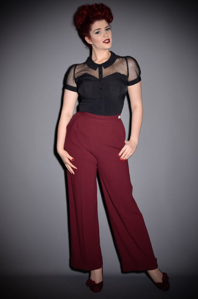 The40s Wide Leg Trousers are an authentic rework of an original 1940s trouser pattern adapted for the modern figure and in modern fabric.